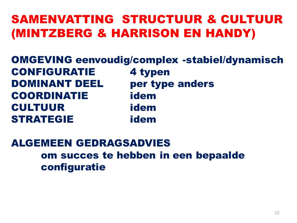 10 SAMENVATTING STRUCTUUR & CULTUUR (MINTZBERG & HARRISON EN HANDY) OMGEVING eenvoudig/complex -stabiel/dynamisch CONFIGURATIE4 typen DOMINANT DEELper