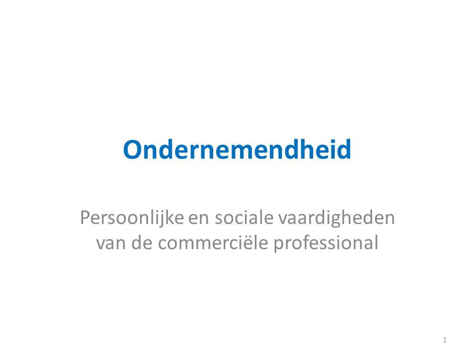 Ondernemendheid Persoonlijke en sociale vaardigheden van de commerciële professional 1