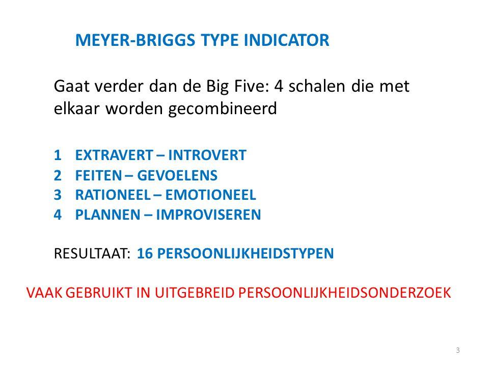 MEYER-BRIGGS TYPE INDICATOR Gaat verder dan de Big Five: 4 schalen die met elkaar worden gecombineerd 1EXTRAVERT – INTROVERT 2FEITEN – GEVOELENS 3RATI