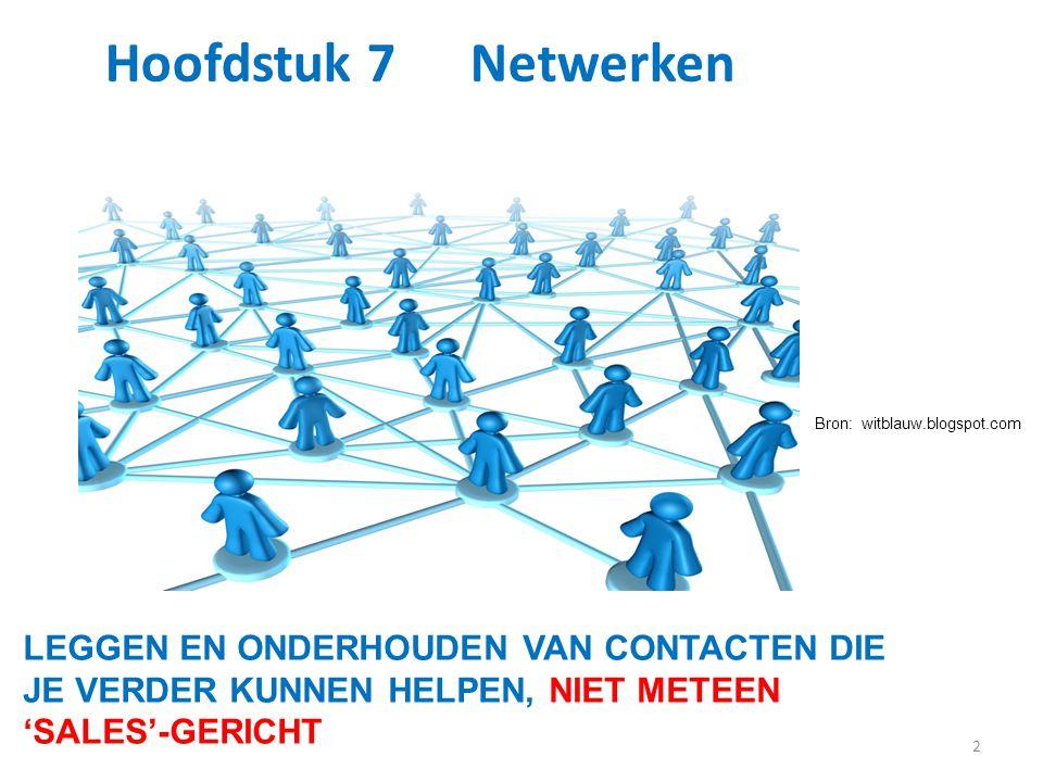 2 Hoofdstuk 7 Netwerken LEGGEN EN ONDERHOUDEN VAN CONTACTEN DIE JE VERDER KUNNEN HELPEN, NIET METEEN 'SALES'-GERICHT Bron: witblauw.blogspot.com