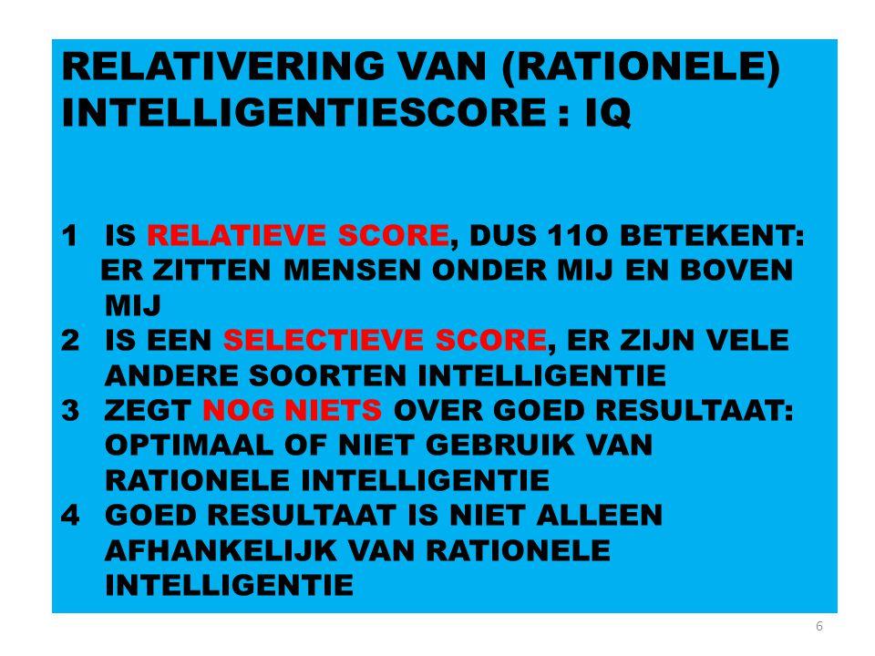 6 RELATIVERING VAN (RATIONELE) INTELLIGENTIESCORE : IQ 1IS RELATIEVE SCORE, DUS 11O BETEKENT: ER ZITTEN MENSEN ONDER MIJ EN BOVEN MIJ 2IS EEN SELECTIE