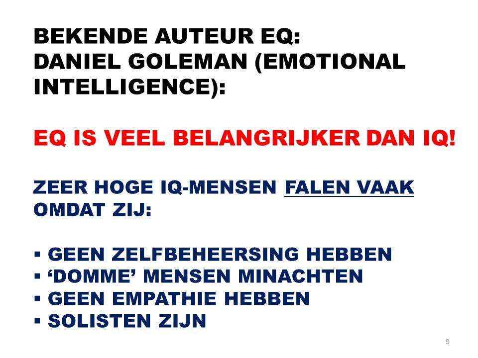 9 BEKENDE AUTEUR EQ: DANIEL GOLEMAN (EMOTIONAL INTELLIGENCE): EQ IS VEEL BELANGRIJKER DAN IQ! ZEER HOGE IQ-MENSEN FALEN VAAK OMDAT ZIJ:  GEEN ZELFBEH