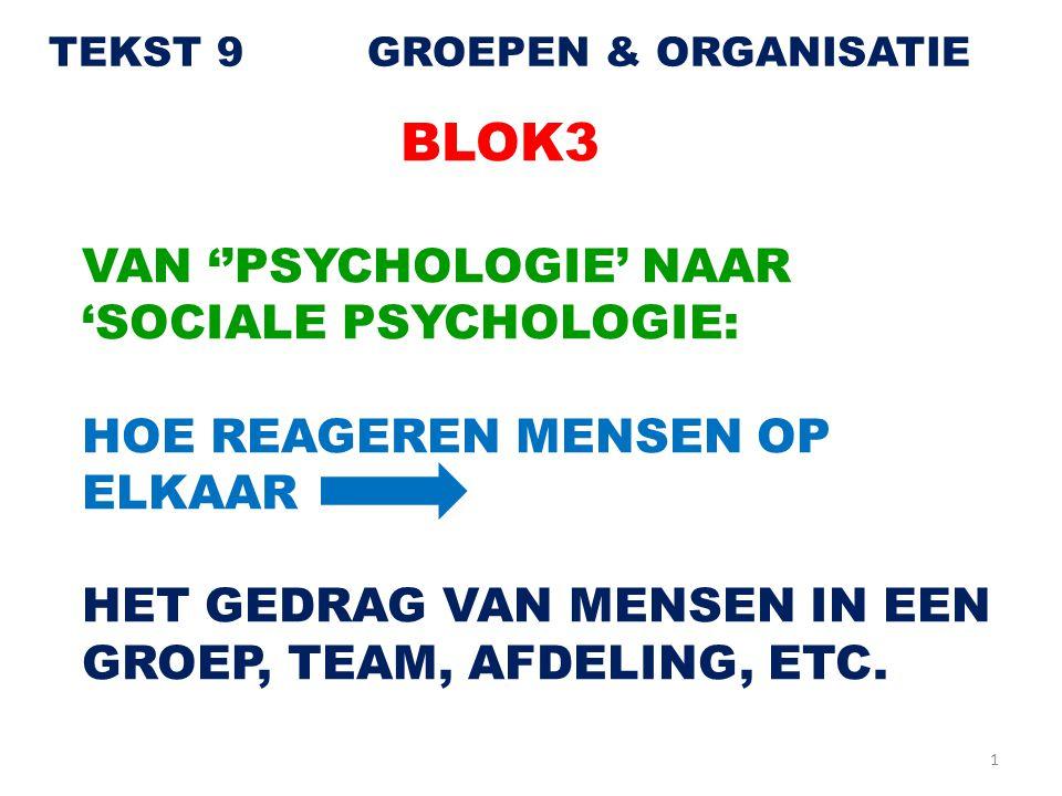 1 TEKST 9GROEPEN & ORGANISATIE BLOK3 VAN ''PSYCHOLOGIE' NAAR 'SOCIALE PSYCHOLOGIE: HOE REAGEREN MENSEN OP ELKAAR HET GEDRAG VAN MENSEN IN EEN GROEP, T