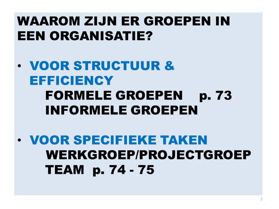 7 WAAROM ZIJN ER GROEPEN IN EEN ORGANISATIE? VOOR STRUCTUUR & EFFICIENCY FORMELE GROEPEN p. 73 INFORMELE GROEPEN VOOR SPECIFIEKE TAKEN WERKGROEP/PROJE