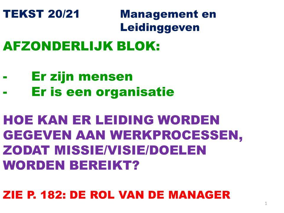 1 TEKST 20/21 Management en Leidinggeven AFZONDERLIJK BLOK: -Er zijn mensen -Er is een organisatie HOE KAN ER LEIDING WORDEN GEGEVEN AAN WERKPROCESSEN