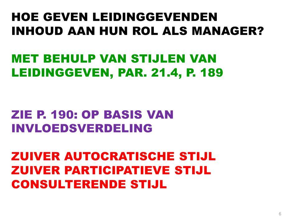6 HOE GEVEN LEIDINGGEVENDEN INHOUD AAN HUN ROL ALS MANAGER? MET BEHULP VAN STIJLEN VAN LEIDINGGEVEN, PAR. 21.4, P. 189 ZIE P. 190: OP BASIS VAN INVLOE