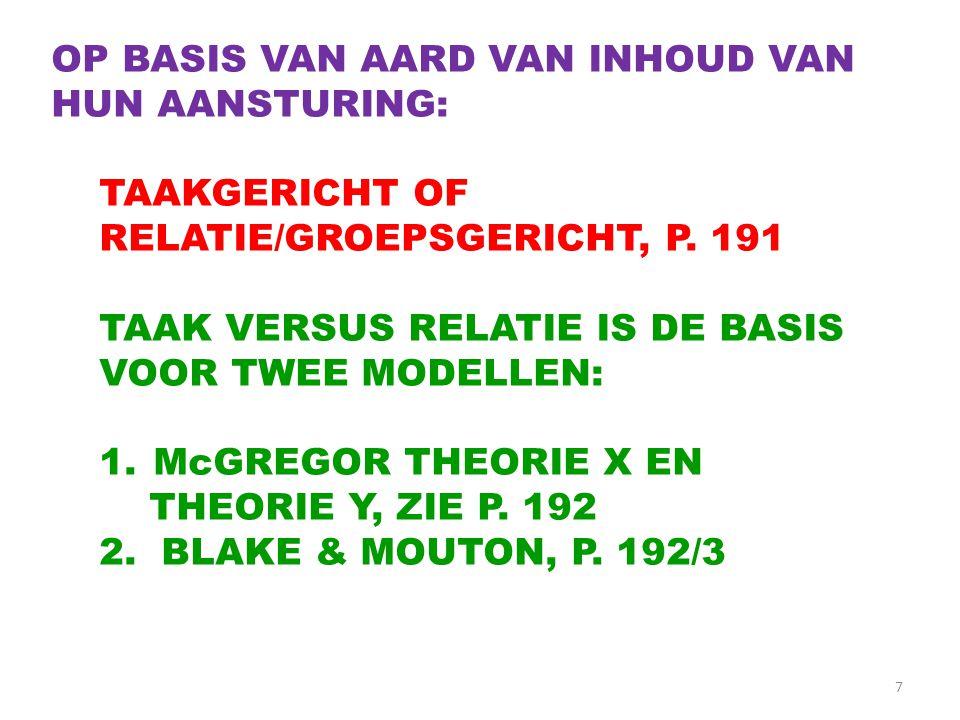 7 OP BASIS VAN AARD VAN INHOUD VAN HUN AANSTURING: TAAKGERICHT OF RELATIE/GROEPSGERICHT, P. 191 TAAK VERSUS RELATIE IS DE BASIS VOOR TWEE MODELLEN: 1.