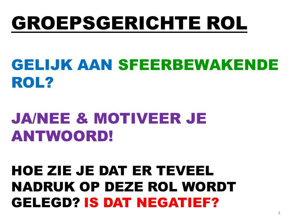 4 GROEPSGERICHTE ROL GELIJK AAN SFEERBEWAKENDE ROL.