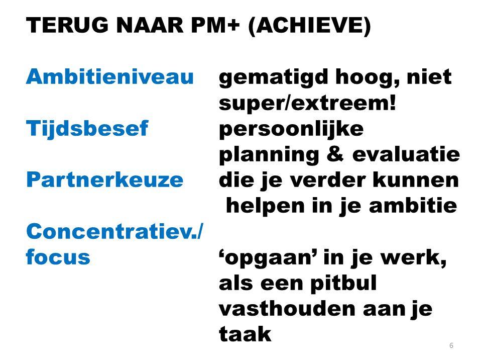 6 TERUG NAAR PM+ (ACHIEVE) Ambitieniveau gematigd hoog, niet super/extreem.