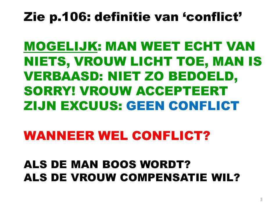 3 Zie p.106: definitie van 'conflict' MOGELIJK: MAN WEET ECHT VAN NIETS, VROUW LICHT TOE, MAN IS VERBAASD: NIET ZO BEDOELD, SORRY.