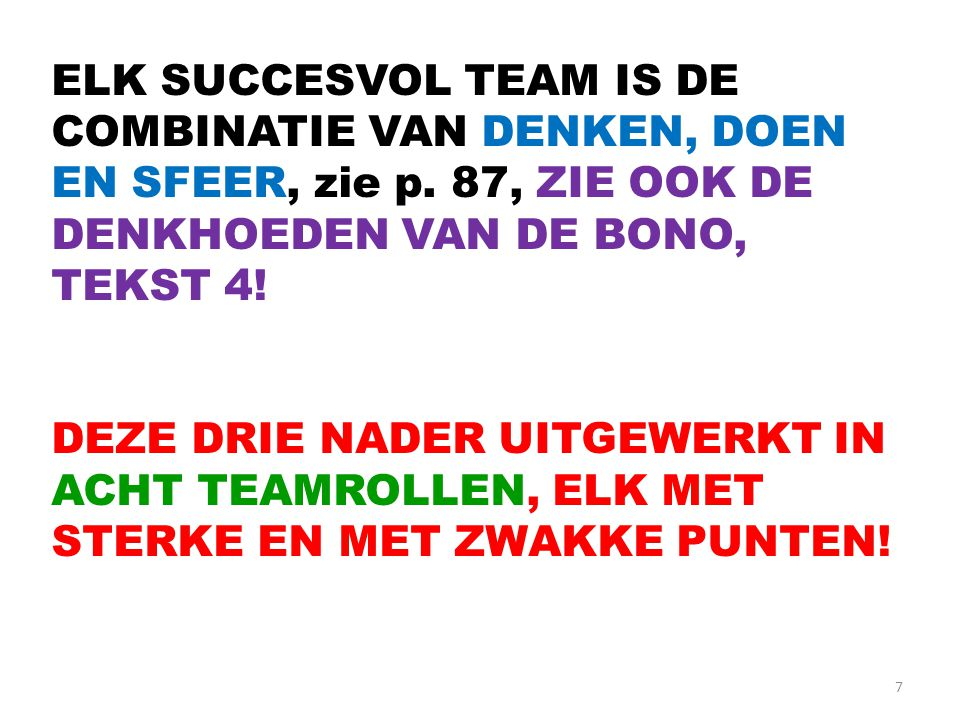 7 ELK SUCCESVOL TEAM IS DE COMBINATIE VAN DENKEN, DOEN EN SFEER, zie p. 87, ZIE OOK DE DENKHOEDEN VAN DE BONO, TEKST 4! DEZE DRIE NADER UITGEWERKT IN