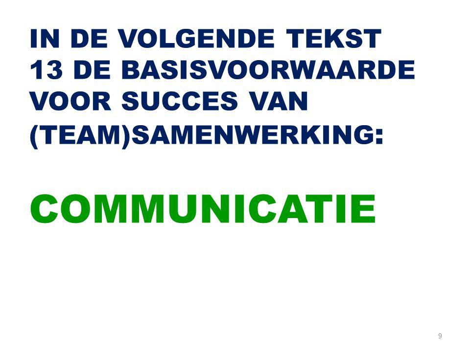 9 IN DE VOLGENDE TEKST 13 DE BASISVOORWAARDE VOOR SUCCES VAN (TEAM)SAMENWERKING : COMMUNICATIE