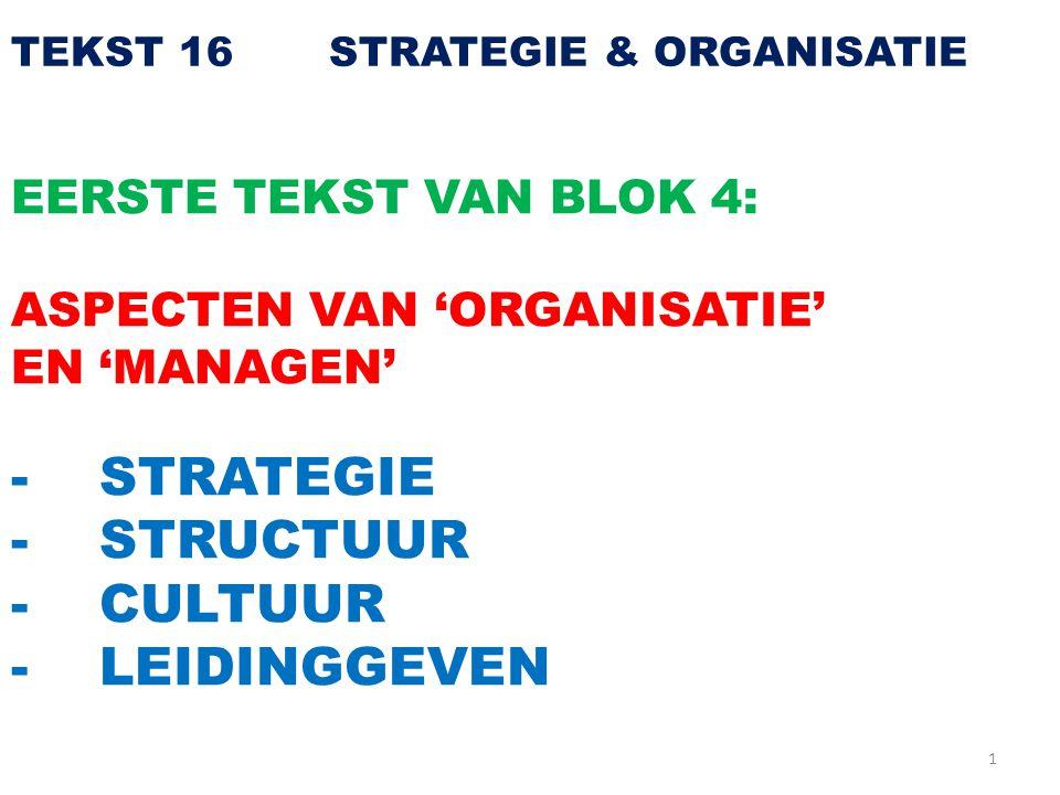 1 TEKST 16 STRATEGIE & ORGANISATIE EERSTE TEKST VAN BLOK 4: ASPECTEN VAN 'ORGANISATIE' EN 'MANAGEN' - STRATEGIE - STRUCTUUR - CULTUUR - LEIDINGGEVEN