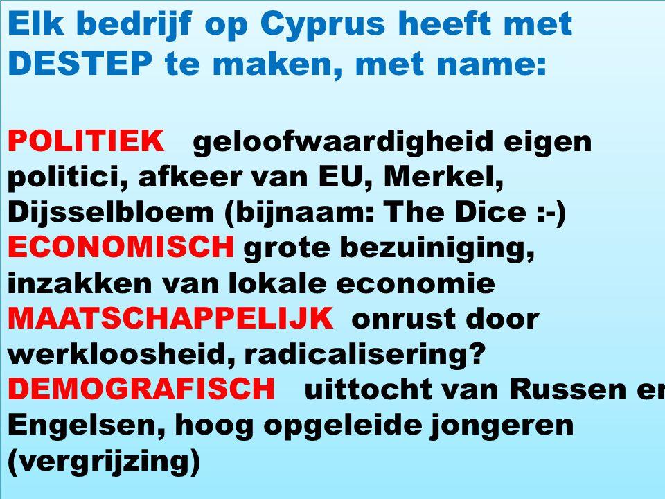 4 Elk bedrijf op Cyprus heeft met DESTEP te maken, met name: POLITIEK geloofwaardigheid eigen politici, afkeer van EU, Merkel, Dijsselbloem (bijnaam: The Dice :-) ECONOMISCH grote bezuiniging, inzakken van lokale economie MAATSCHAPPELIJK onrust door werkloosheid, radicalisering.
