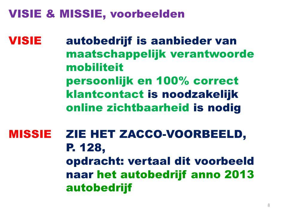 8 VISIE & MISSIE, voorbeelden VISIEautobedrijf is aanbieder van maatschappelijk verantwoorde mobiliteit persoonlijk en 100% correct klantcontact is noodzakelijk online zichtbaarheid is nodig MISSIEZIE HET ZACCO-VOORBEELD, P.