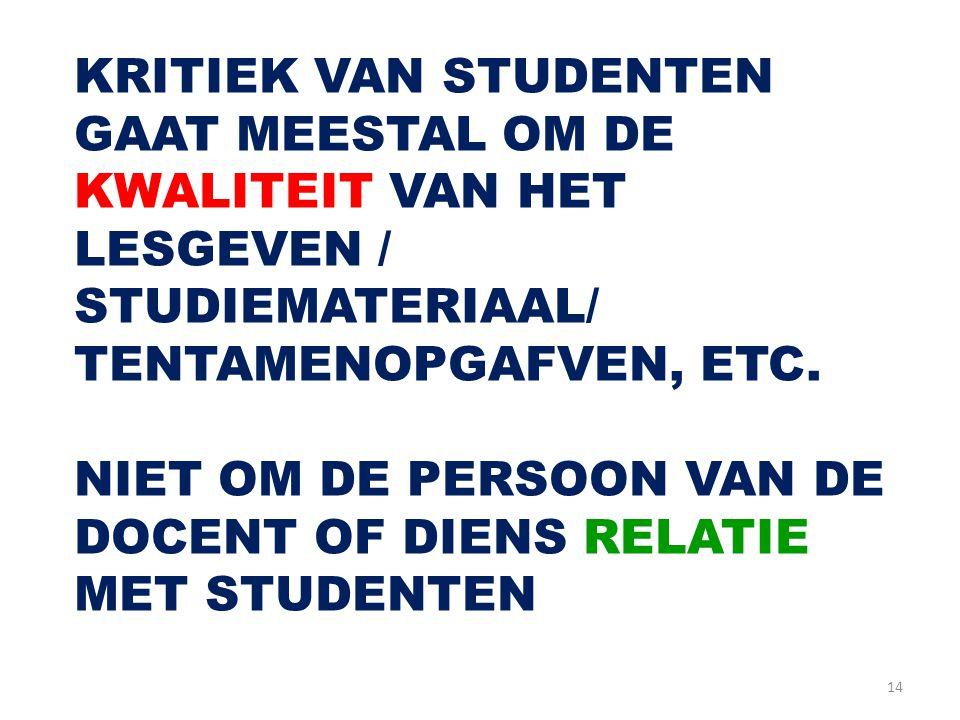 14 KRITIEK VAN STUDENTEN GAAT MEESTAL OM DE KWALITEIT VAN HET LESGEVEN / STUDIEMATERIAAL/ TENTAMENOPGAFVEN, ETC. NIET OM DE PERSOON VAN DE DOCENT OF D