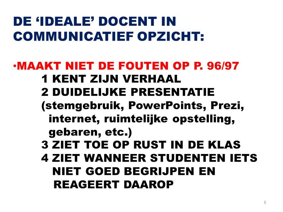 6 DE 'IDEALE' DOCENT IN COMMUNICATIEF OPZICHT: MAAKT NIET DE FOUTEN OP P. 96/97 1 KENT ZIJN VERHAAL 2 DUIDELIJKE PRESENTATIE (stemgebruik, PowerPoints