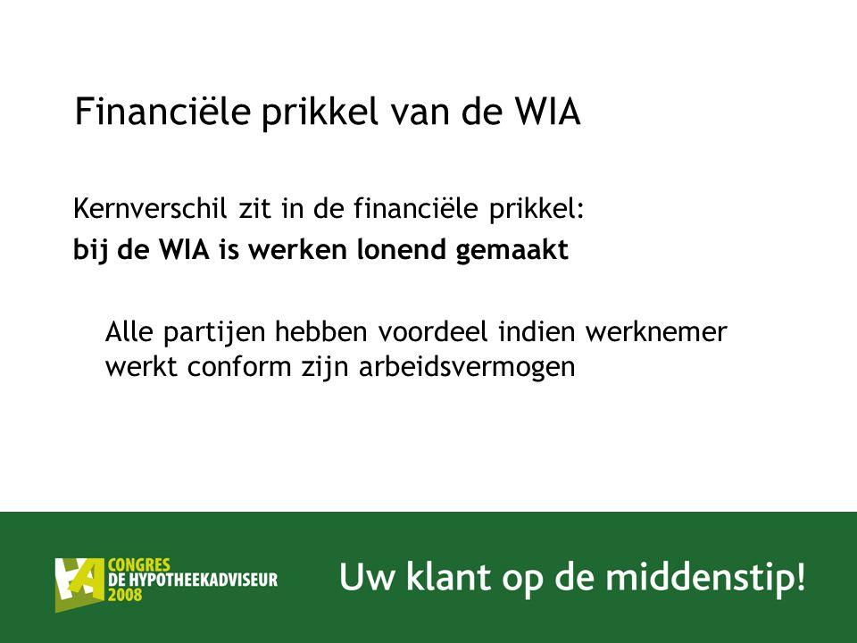 Financiële prikkel van de WIA Kernverschil zit in de financiële prikkel: bij de WIA is werken lonend gemaakt Alle partijen hebben voordeel indien werk
