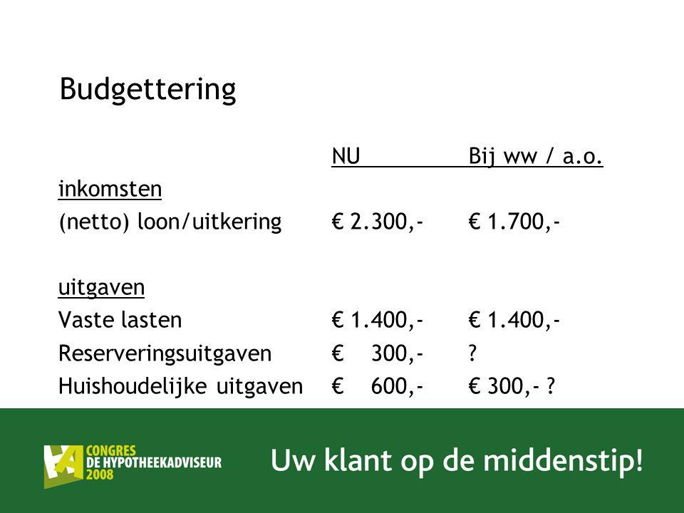 Budgettering NUBij ww / a.o. inkomsten (netto) loon/uitkering € 2.300,-€ 1.700,- uitgaven Vaste lasten€ 1.400,-€ 1.400,- Reserveringsuitgaven€ 300,-?