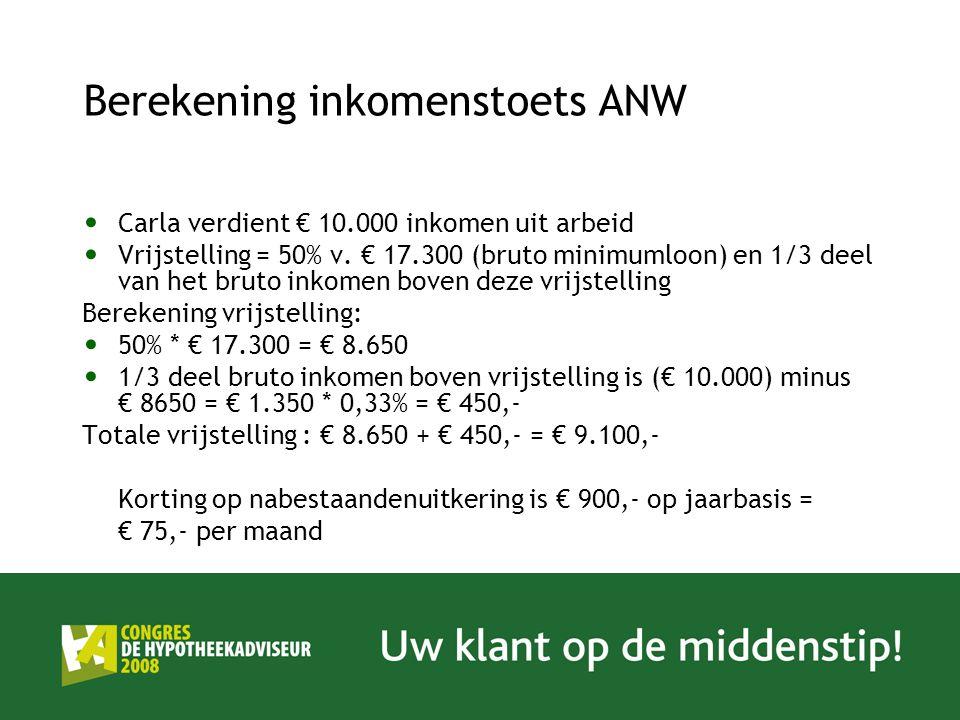 Berekening inkomenstoets ANW Carla verdient € 10.000 inkomen uit arbeid Vrijstelling = 50% v. € 17.300 (bruto minimumloon) en 1/3 deel van het bruto i