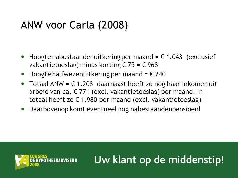 ANW voor Carla (2008) Hoogte nabestaandenuitkering per maand = € 1.043 (exclusief vakantietoeslag) minus korting € 75 = € 968 Hoogte halfwezenuitkerin