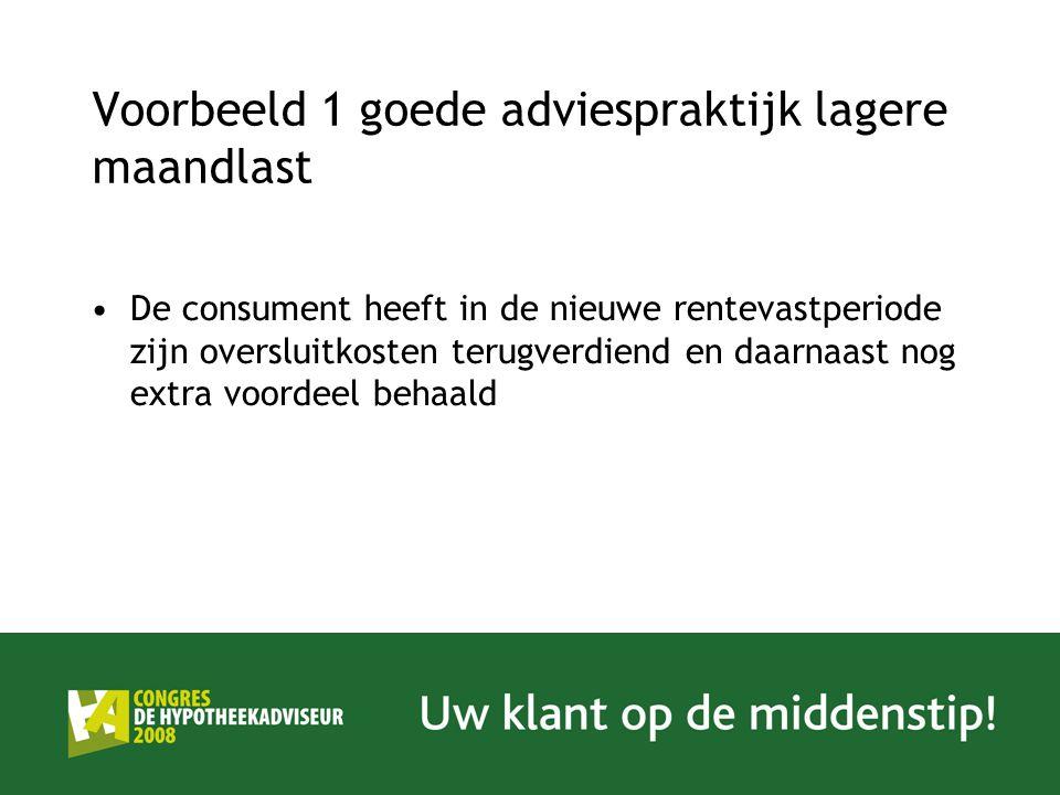 Voorbeeld 1 goede adviespraktijk lagere maandlast De consument heeft in de nieuwe rentevastperiode zijn oversluitkosten terugverdiend en daarnaast nog