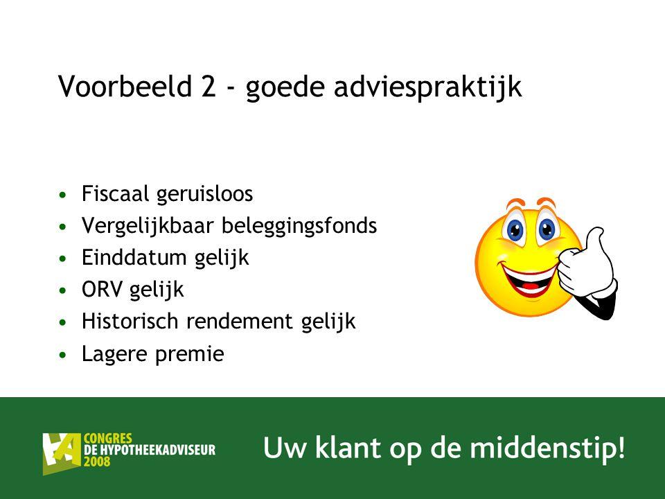 Voorbeeld 2 - goede adviespraktijk Fiscaal geruisloos Vergelijkbaar beleggingsfonds Einddatum gelijk ORV gelijk Historisch rendement gelijk Lagere pre