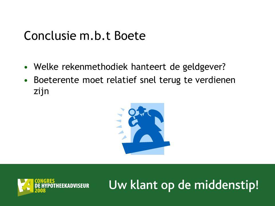 Conclusie m.b.t Boete Welke rekenmethodiek hanteert de geldgever? Boeterente moet relatief snel terug te verdienen zijn