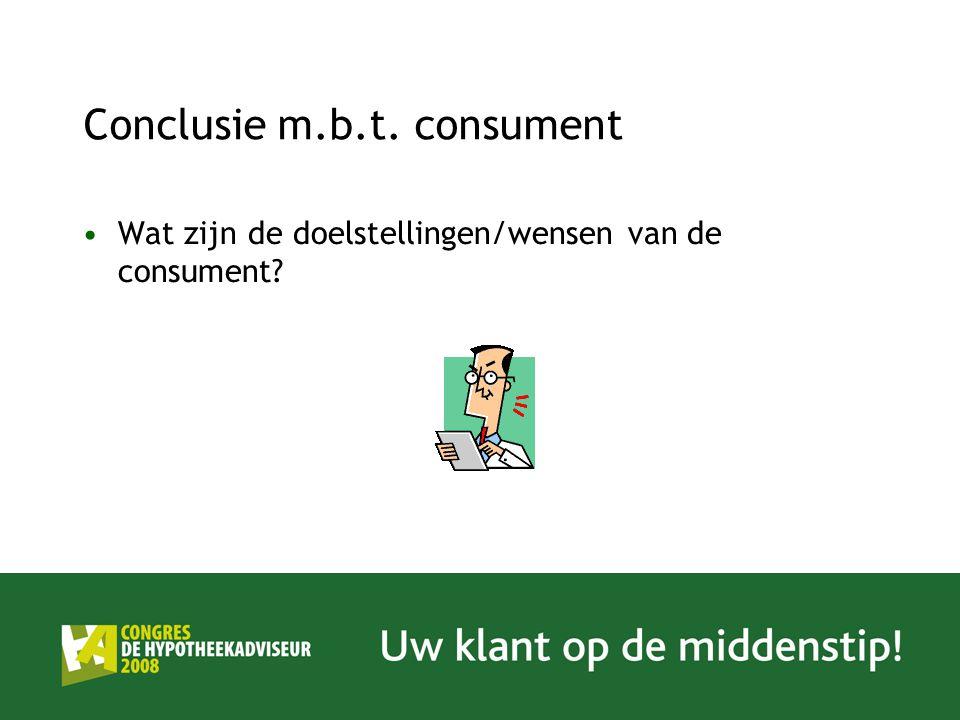 Conclusie m.b.t. consument Wat zijn de doelstellingen/wensen van de consument?