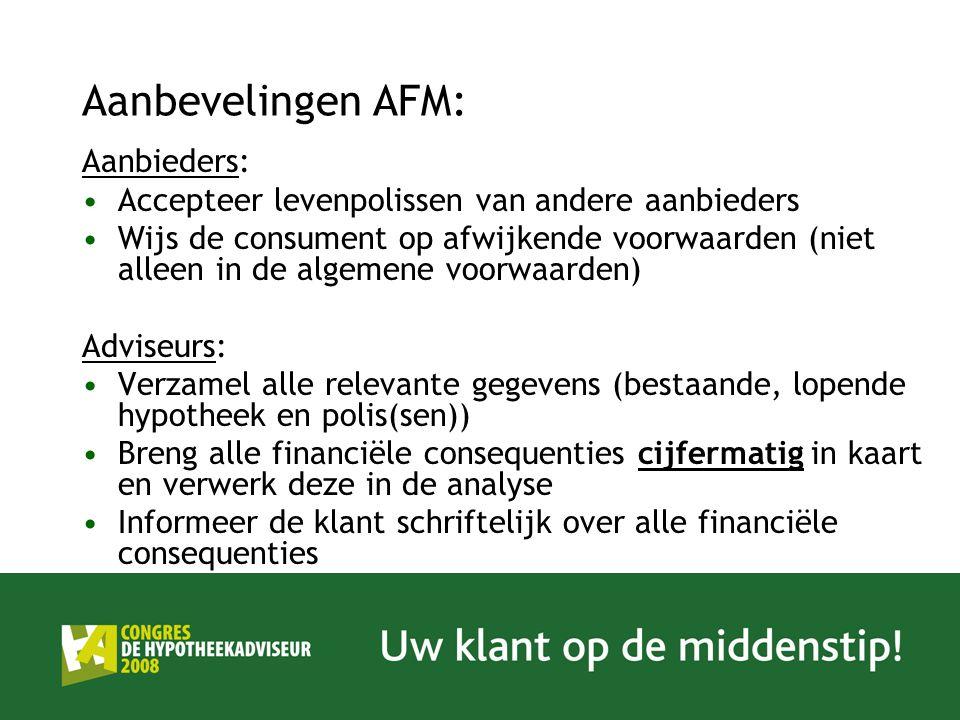 Aanbevelingen AFM: Aanbieders: Accepteer levenpolissen van andere aanbieders Wijs de consument op afwijkende voorwaarden (niet alleen in de algemene v