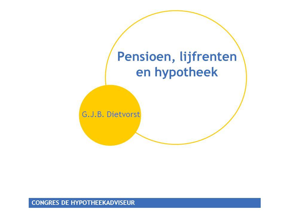 CONGRES DE HYPOTHEEKADVISEUR Pensioen,lijfrente en hypotheek Pensioen bewustzijn Deeltijd- pensioen Levensloop- regeling Bancaire lijfrente KEW/SEW Echtscheiding en eigen beheer Ondernemer versus wn Meer DC, minder DB
