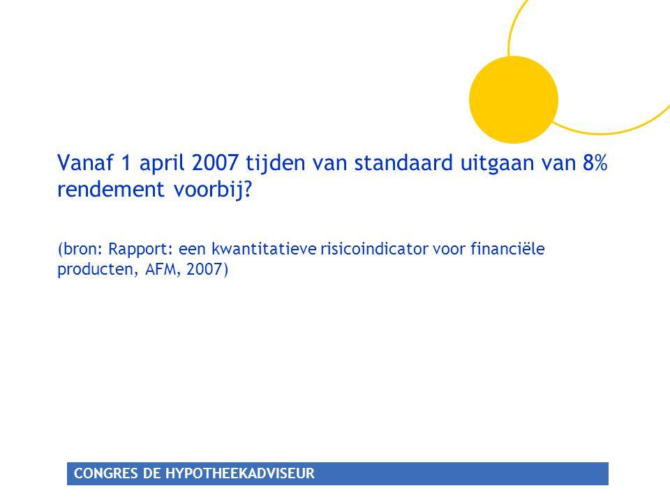 CONGRES DE HYPOTHEEKADVISEUR Vanaf 1 april 2007 tijden van standaard uitgaan van 8% rendement voorbij.