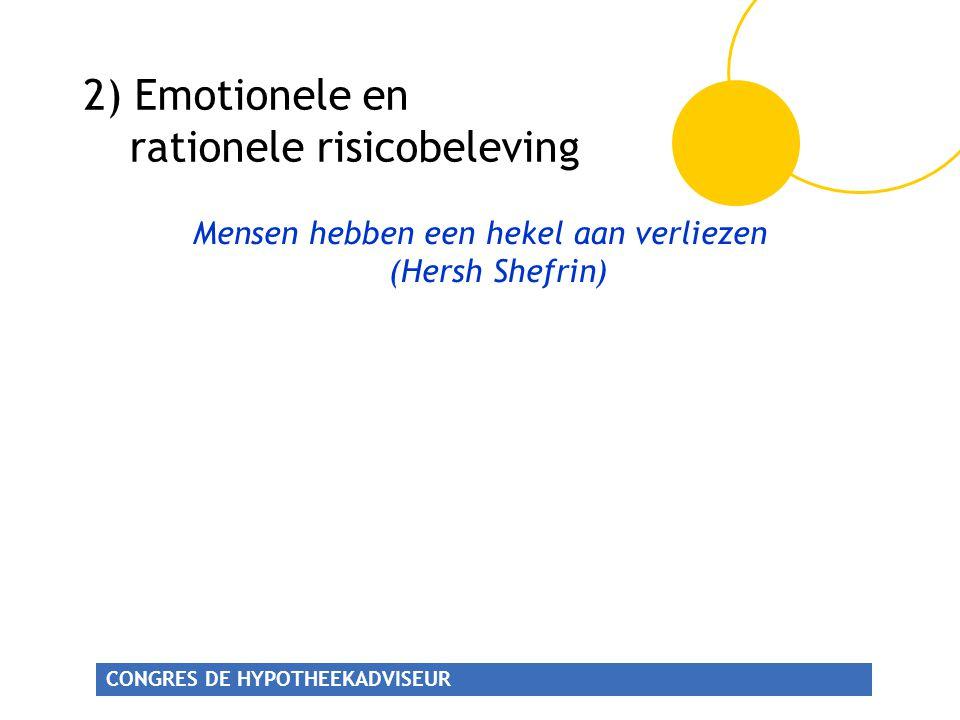CONGRES DE HYPOTHEEKADVISEUR 2) Emotionele en rationele risicobeleving Mensen hebben een hekel aan verliezen (Hersh Shefrin)