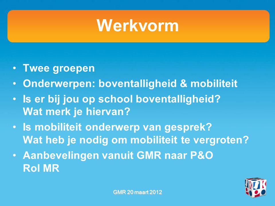 Werkvorm Twee groepen Onderwerpen: boventalligheid & mobiliteit Is er bij jou op school boventalligheid? Wat merk je hiervan? Is mobiliteit onderwerp