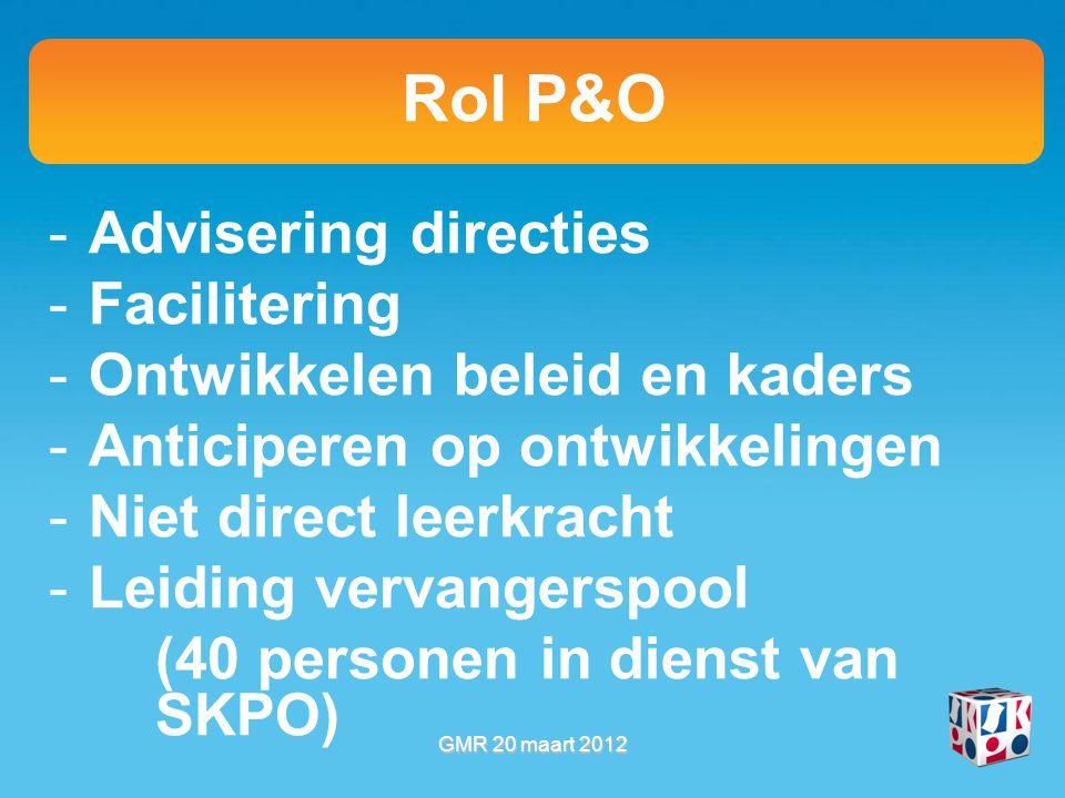 Rol P&O -Advisering directies -Facilitering -Ontwikkelen beleid en kaders -Anticiperen op ontwikkelingen -Niet direct leerkracht -Leiding vervangerspool (40 personen in dienst van SKPO) GMR 20 maart 2012