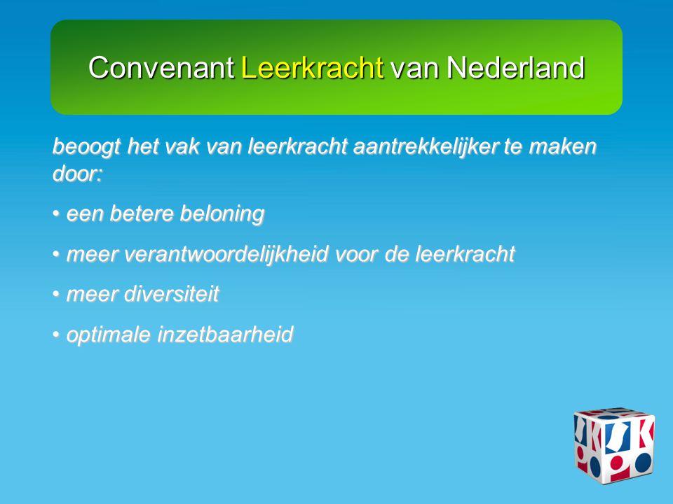 Convenant Leerkracht van Nederland uitlooptoeslag van € 61,- voor alle LA 18 leerkrachten uitlooptoeslag van € 61,- voor alle LA 18 leerkrachten kortere salarislijnen kortere salarislijnen realiseren van een functiemix: 58% LA– 42% LB (of 58% LA, 40% LB, 2% LC) realiseren van een functiemix: 58% LA– 42% LB (of 58% LA, 40% LB, 2% LC) toelage voor directies toelage voor directies scholingsbudget scholingsbudget ondersteunend personeel voor verlaging werkdruk ondersteunend personeel voor verlaging werkdruk voor 90% richt de inhoud van het convenant zich op beloningsbeleid