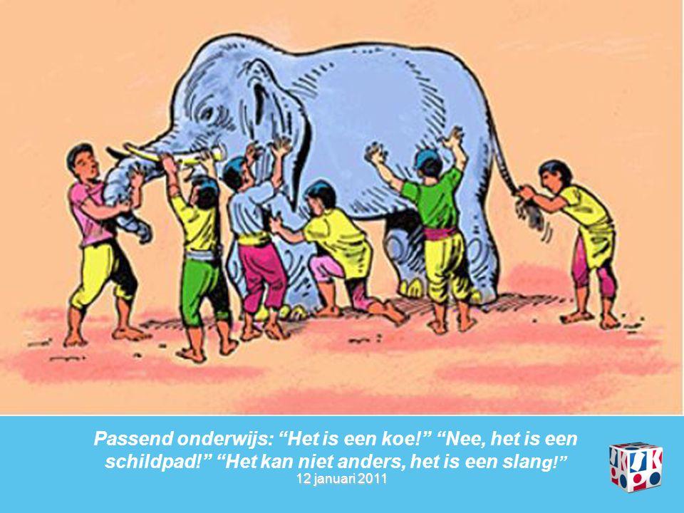 """12 januari 2011 Passend onderwijs: """"Het is een koe!"""" """"Nee, het is een schildpad!"""" """"Het kan niet anders, het is een slan g!"""""""
