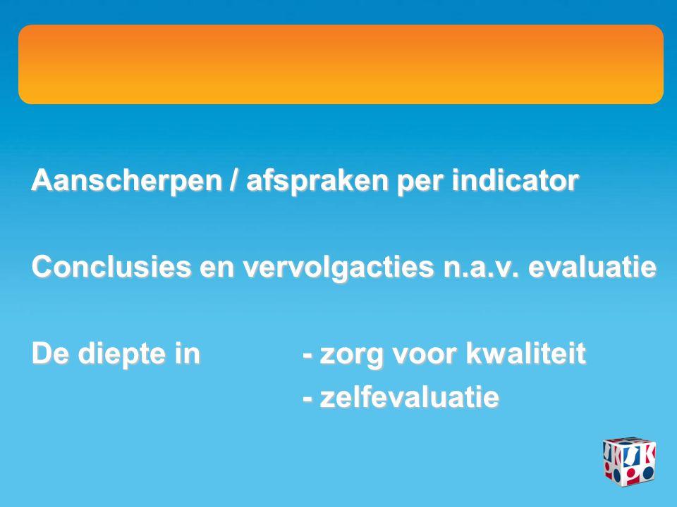 Aanscherpen / afspraken per indicator Conclusies en vervolgacties n.a.v. evaluatie De diepte in- zorg voor kwaliteit - zelfevaluatie