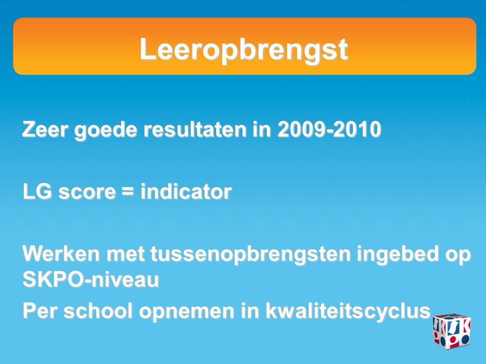 Leeropbrengst Zeer goede resultaten in 2009-2010 LG score = indicator Werken met tussenopbrengsten ingebed op SKPO-niveau Per school opnemen in kwalit