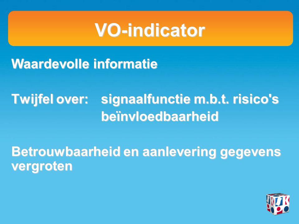 VO-indicator Waardevolle informatie Twijfel over:signaalfunctie m.b.t. risico's beïnvloedbaarheid Betrouwbaarheid en aanlevering gegevens vergroten