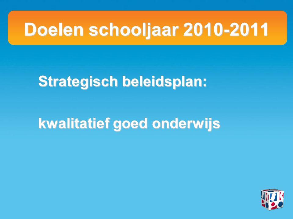Doelen schooljaar 2010-2011 Strategisch beleidsplan: kwalitatief goed onderwijs