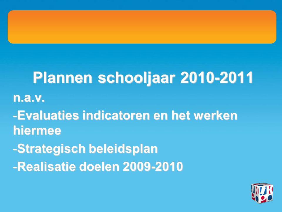Plannen schooljaar 2010-2011 n.a.v. -Evaluaties indicatoren en het werken hiermee -Strategisch beleidsplan -Realisatie doelen 2009-2010
