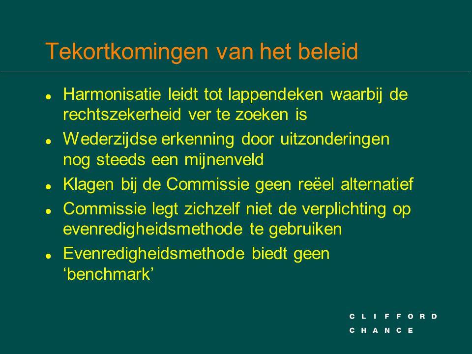 Tekortkomingen van het beleid l Harmonisatie leidt tot lappendeken waarbij de rechtszekerheid ver te zoeken is l Wederzijdse erkenning door uitzonderingen nog steeds een mijnenveld l Klagen bij de Commissie geen reëel alternatief l Commissie legt zichzelf niet de verplichting op evenredigheidsmethode te gebruiken l Evenredigheidsmethode biedt geen 'benchmark'