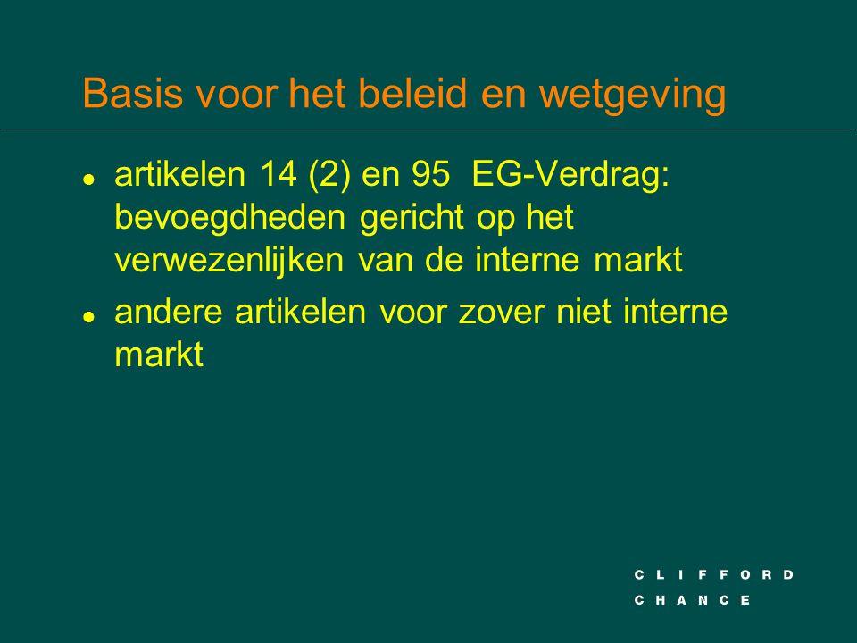 Basis voor het beleid en wetgeving l artikelen 14 (2) en 95 EG-Verdrag: bevoegdheden gericht op het verwezenlijken van de interne markt l andere artikelen voor zover niet interne markt