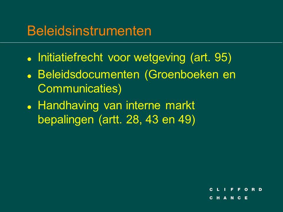 Beleidsinstrumenten l Initiatiefrecht voor wetgeving (art.