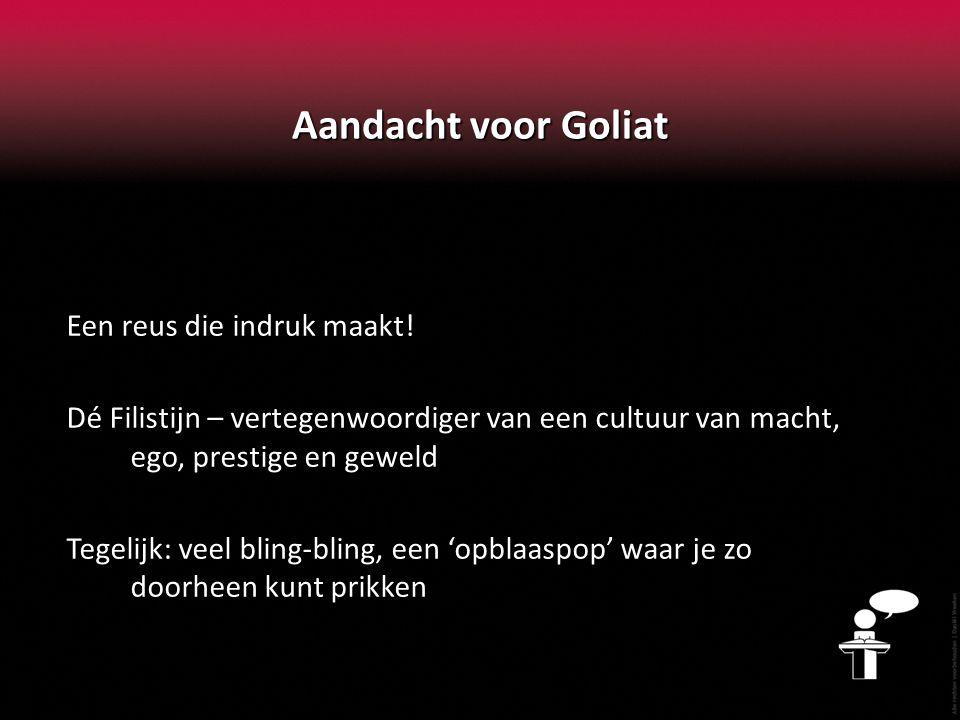Aandacht voor Goliat Een reus die indruk maakt.