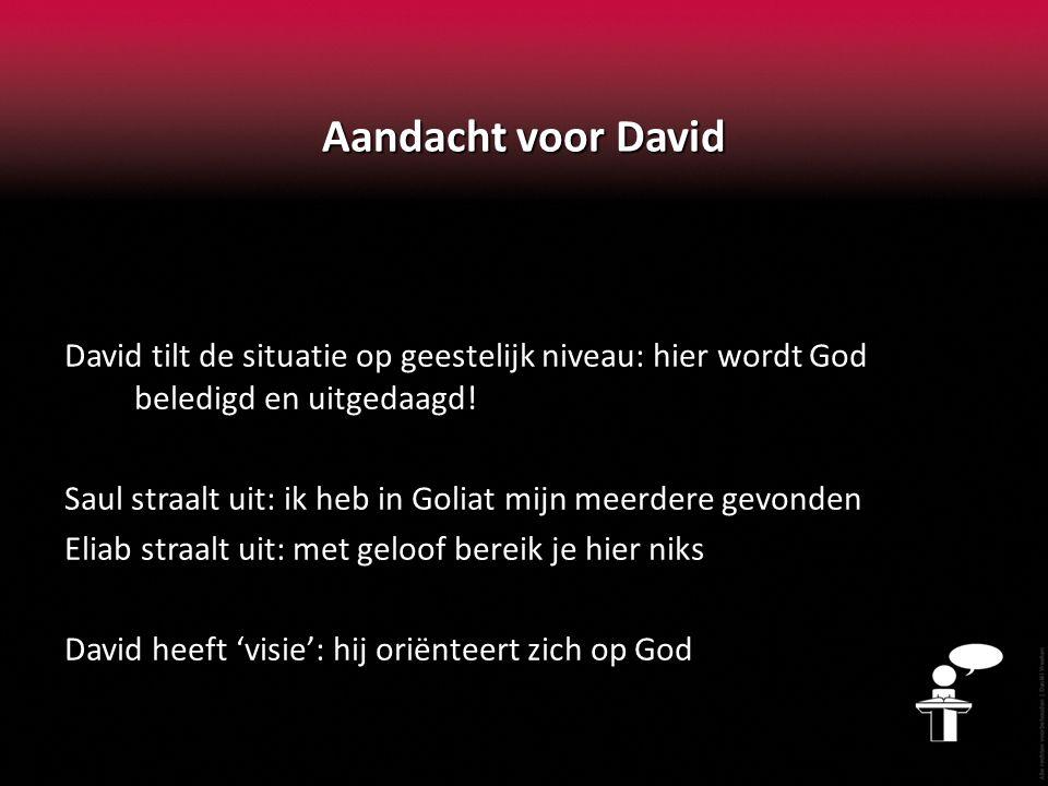 Aandacht voor David David tilt de situatie op geestelijk niveau: hier wordt God beledigd en uitgedaagd.