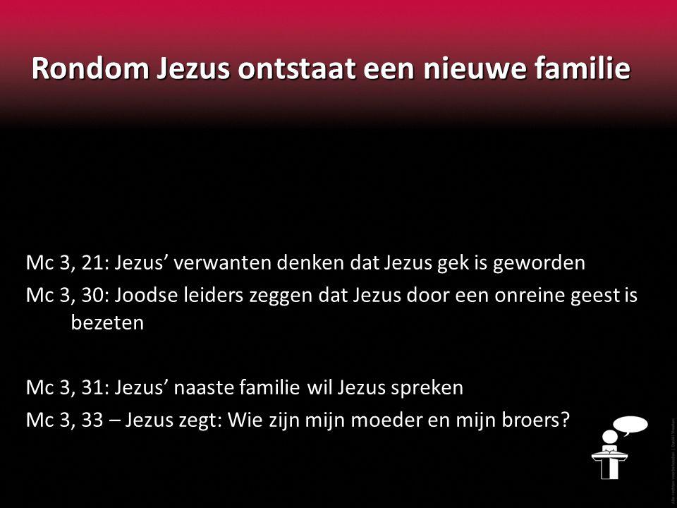 Rondom Jezus ontstaat een nieuwe familie Mc 3, 21: Jezus' verwanten denken dat Jezus gek is geworden Mc 3, 30: Joodse leiders zeggen dat Jezus door ee