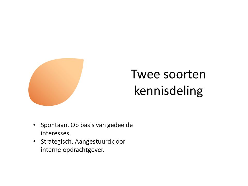 Twee soorten kennisdeling Spontaan. Op basis van gedeelde interesses. Strategisch. Aangestuurd door interne opdrachtgever.