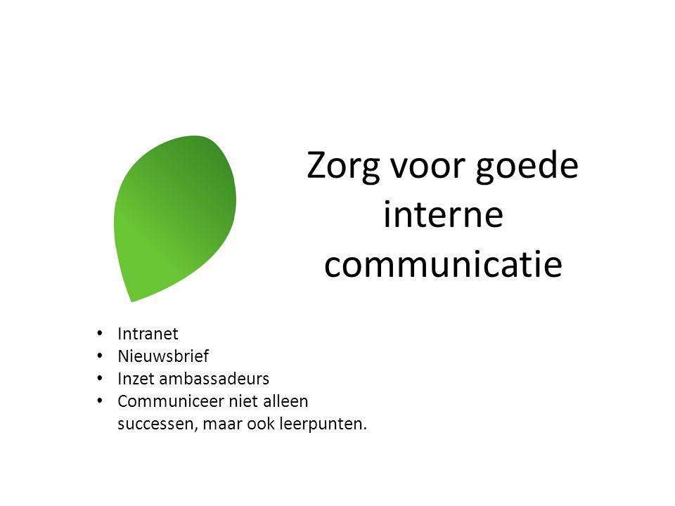 Zorg voor goede interne communicatie Intranet Nieuwsbrief Inzet ambassadeurs Communiceer niet alleen successen, maar ook leerpunten.